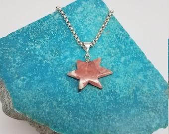 Pink Rhodochrosite & Sterling Silver Starburst Pendant