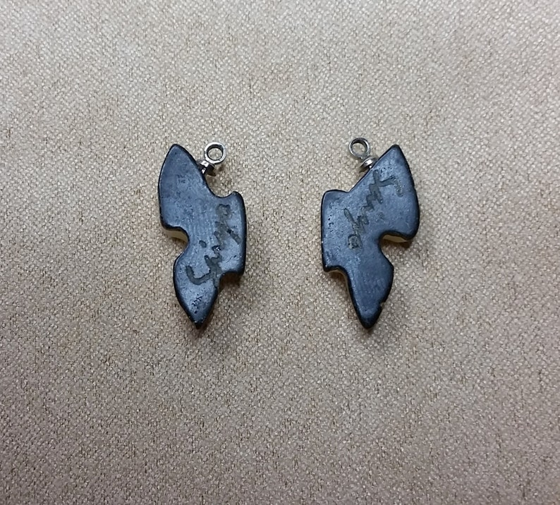 Cream Onyx Butterfly Small Side view Pair with Sterling Eyehooks  backed