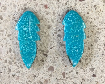 Blue Sonora Turquoise Feather Small Cabochon Pair/ backed