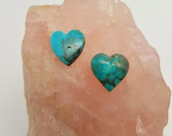 Blue Green Turquoise Mountain Medium Heart Cabochon Pair/ backed