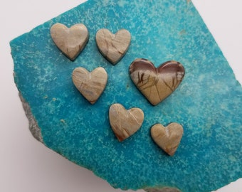 Tan Banded Picasso Marble Heart Cabochon Set of 6/ backed