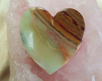 Large Cream, Orange Brown Onyx Heart Cabochon/ backed