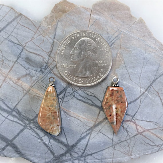 Orange /& Brown Picasso Marble Boomerang and Flat Diamond Cabochons with Silver Eyehooks backed