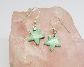 Green Variscite & Sterling Silver Small Star Earrings with French Earwire