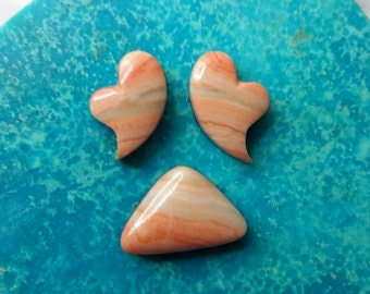 Pink Strawberry Marble Small Crying Hearts & Triangle Cabochon Set/ backed