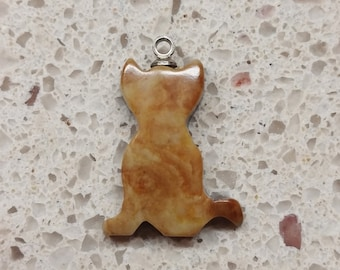 Orange Beige Picasso Marble Cat Small Cabochon/ backed/ Iron Mountains, UT
