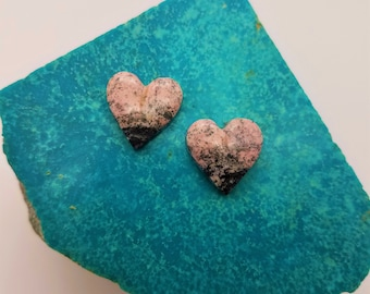 Pink Black Speckled Rhodonite Small Heart Cabochon Pair/ backed