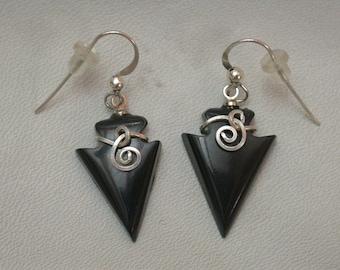 Black Colorado Oil Stone Arrowhead Earrings with Sterling Silver Wirewrap & French Earwire