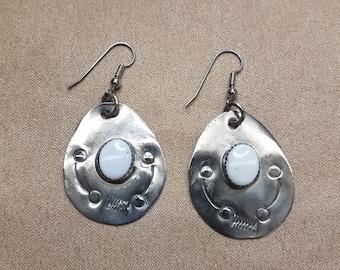 Native American/ Tribal/ Primitive German Silver & Magnesite Teardrop Earrings Stamped Design