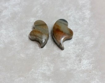 Picasso Marble Small Crying Heart Cabochon Pair /Beige Tan bands/ backed/ Iron Mountain, UT