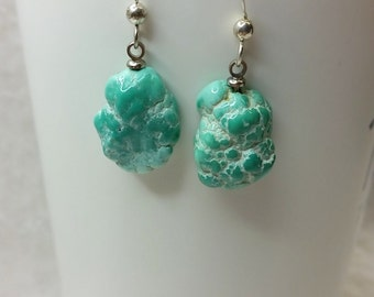Natural Turquoise Nugget Earrings/Cripple Creek/ silver ear wire