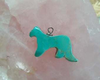 Green Turquoise Mountain Cougar Small cabochon/ backed with sterling eyehook