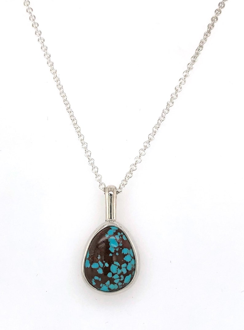 Gemstone Necklace Minimalist Necklace Turquoise Necklace in Sterling Silver with Egyptian Web Turquoise