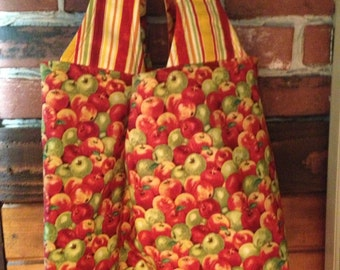 Tote Bag,  Market Bag, Reversible,  Apple Picking Time, Green/Red apples with lining of green/red/gold/ striped  fabric.