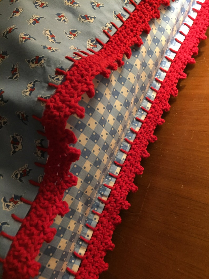 Red and white kittens with bow Crochet edge with inner flap Pillowcase Blue