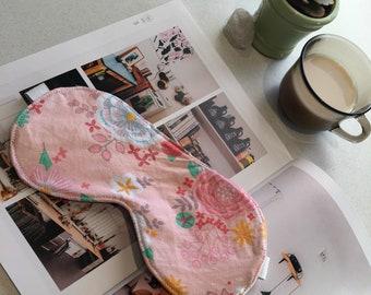 Pink floral eyemask travel sleepmask.
