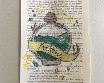 Polyjuice potion Harry Potter inspired watercolour book page.