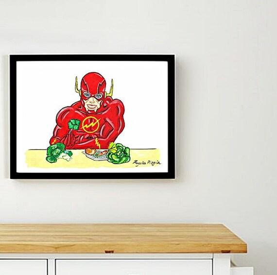 Vegano supereroe Poster da stampare. Cucina decorazione. | Etsy