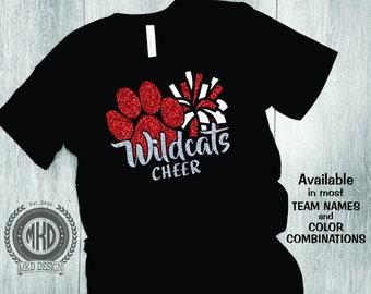 Paw with pompom, Wildcats Cheer Tee, Wildcat Paw, Custom Glitter School Spirit T-Shirt, School Mascot, Team Pride Shirt, Mom Tee, Cheer tee