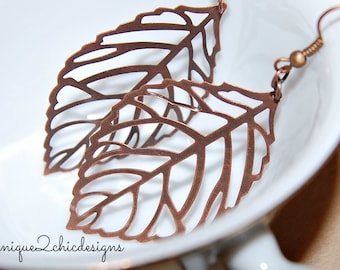 Leaf Earrings, Copper Earrings, Lightweight Earrings, Fall Jewelry, Fall Gifts, Skeleton Leaf, Nature Jewelry, Foliage Jewelry, Large Leaf