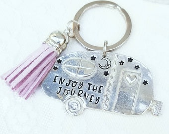 Enjoy The Journey, 2020 Keychain, Camper Keychain, Pewter Keychain, Gift For Her, Happy Camper, Camp Life, Stocking Stuffer, Miniature Gift