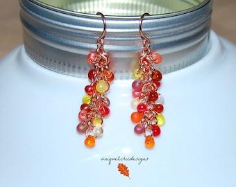 Fall Earrings, Copper Earrings, Thanksgiving Jewelry, Beaded Earrings, Fall Jewelry, Fringe Earrings, Cluster Earrings, Glass Earrings,
