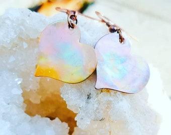 Heart Copper Earrings, Flame Painted Copper, Gift For Her, Rainbow Earrings, Asymmetrical Jewelry, Copper Jewelry,  Boho Earrings, Bohemian
