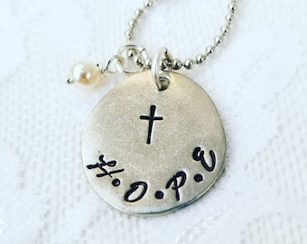 Hope Necklace, Word Hope Jewelry, Inspiration Necklace, Faith Jewelry, Hope Gift, Cross Necklace, Sympathy Gift, Christian Jewelry, Mother