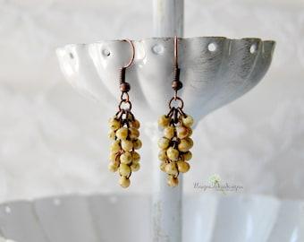 Mustard Earrings, Fall Earrings, Boho Fringe Earrings, Yellow Earrings, Fringe Earrings, Beaded Earrings, Cluster Earrings, Copper Earrings
