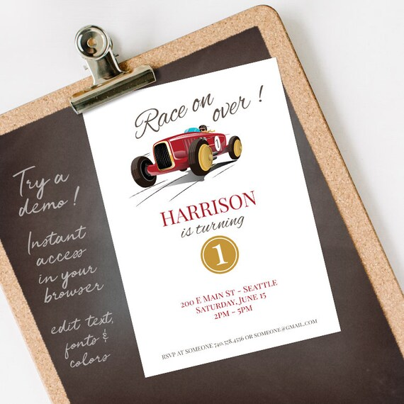 Vintage Race Car 1st Birthday Invitation Boy First