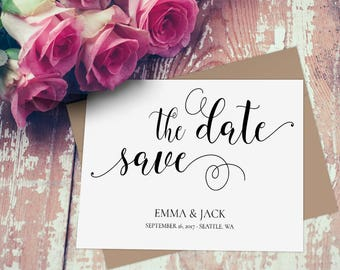 Elegant Save the Date Template, Editable Save the Date Card, Calligraphy Save the Date, Save the Date DIY printable INSTANT DOWNLOAD 5X7