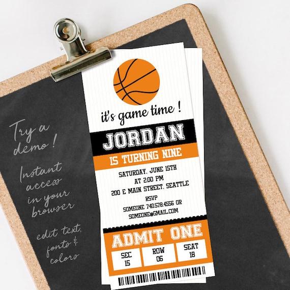 basketball ticket invitation template basketball birthday etsy