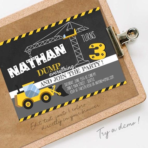 Construction Birthday Invitation Boy Yellow Dump Truck