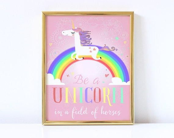 This is a picture of Be a Unicorn in a Field of Horses Free Printable with nursery poster
