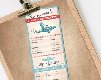 Airplane Invitation, Airplane Boarding Pass Invitation, Airplane Birthday Invitation, Airplane Ticket INSTANT DOWNLOAD personalize at home