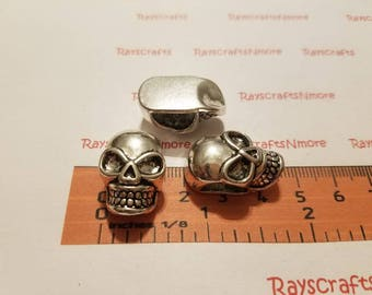 3 pcs - Skull Beads Spacer, Large Hole Spacer Beads - 24x14mm 10mm thick 11x6mm Side to Side Hole Antique Silver Lead Free Pewter. SLR0253.