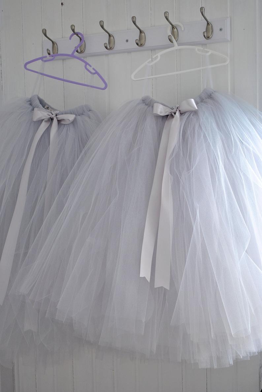 ce0bfd356 Long Grey Tutu Flower Girl Dress Flower Girl Tutu Silver | Etsy