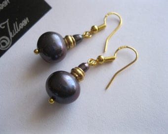 Double Black Pearl and Hallmarked Yellow Gold Vermeil Hook Drop Earring by Julleen Jewels