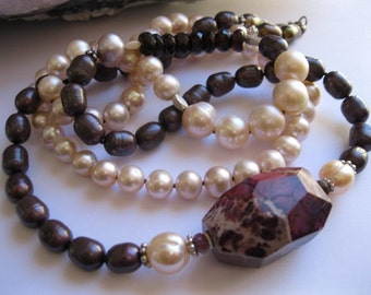 Soft Pink and Claret Pearl, Long Necklace with Wine Turquoise Feature Stone, Facetted Tourmaline and Garnets in Sterling Silver 925