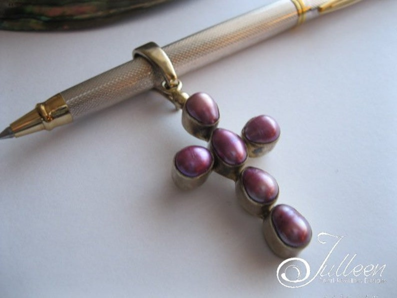 in Gold Vermeil Pendant with Huge Enhancer 60 mm Hallmarked Sterling Silver Regal Purple Pearl Cross