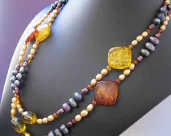 Golden, Quartz, Barrels, Yellow, with Honey, Amber, Pearl, Rich, Purple, Black, Pearl, Long, Necklace, 46 inch by Julleen Jewels