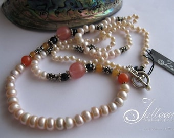 Blush Pink Pearl, Sterling Silver and Cherry Quartz, Long Pearl and Gemstone Necklace by Julleen Jewels