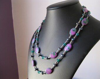 """42"""" Peacock Green Pearl, Green Agate and Purple Zoisite, Long Sterling Silver Necklace."""
