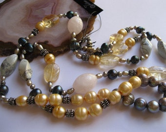 """Peacock Green, Gold, Platinum Pearl, Citrine, Chrysocolla and Rose Quartz Necklace in Sterling Silver- 36"""""""