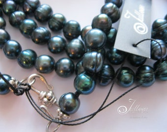 Gorgeous Peacock Green Plain  and Versatile Long Pearl Necklace in Sterling Silver - 50 Inch. SKU BAS0011