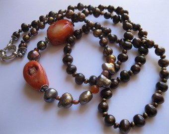 """Rough, Bright, Orange, Coral, Bronze, Copper, Platinum, Pearl, Long, Sterling, Silver, Necklace, 925, Jumbo, Clasp, by, Julleen Jewels - 36"""""""