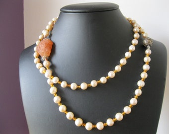 """Creamy Pink Pearl, Amber, Apricot Carnelian, Long Pearl, Gemstone and  Sterling Silver Necklace - 40"""""""