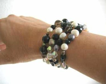 Black and White Pearl and Gemstone, Cuff Bracelet with Smokey Quartz, Crystal, French Jet, Hallmarked Slide Clasp by Julleen Jewels