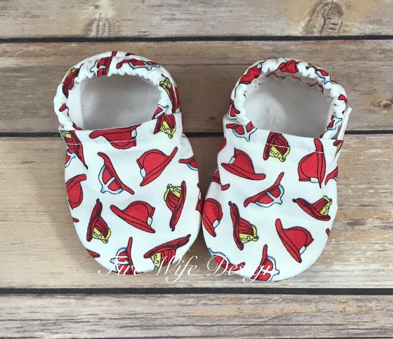 d24e62ac7a5 Fire Helmet Firefighter Soft Sole Baby Shoes, Crib Shoes, Baby Slippers,  Baby Booties, Baby Mocs, Vegan Baby Shoes