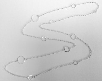 Sterling silver long circles necklace